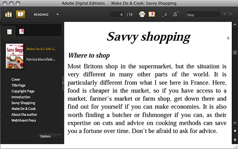 Savvy Shopping as seen in Adobe Digital Editions